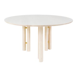 Steven Bukowski Contemporary Martini Dining Table in Bleached Maple and Brass For Sale