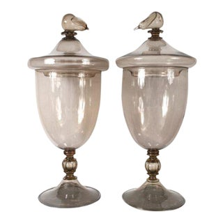 Monumental Vintage Murano Covered Jars - a pair For Sale