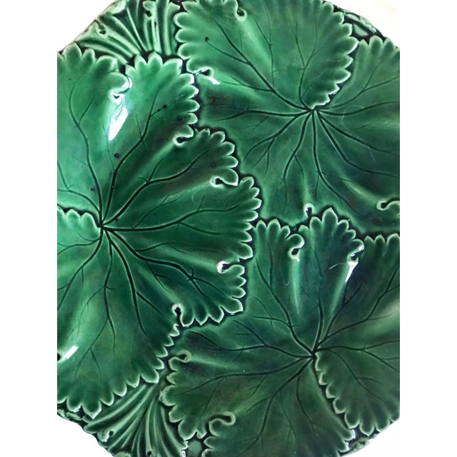 Art Nouveau Pair of Green Majolica Cabbage Leaf Plates by Copeland For Sale - Image 3 of 10