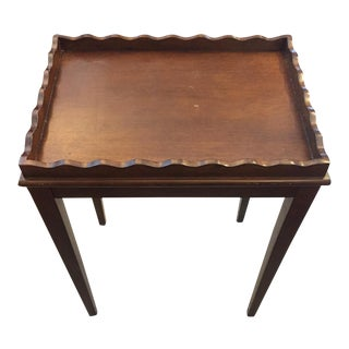 Scalloped Top Edge Mahogany Side Table For Sale
