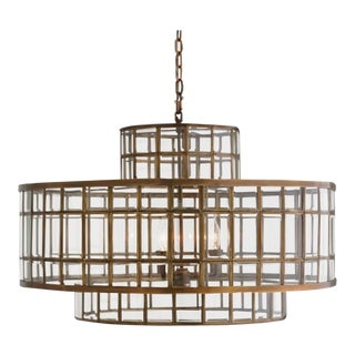 Studio a Co. Modern Brass and Glass Alexandria Pendent/Chandelier For Sale