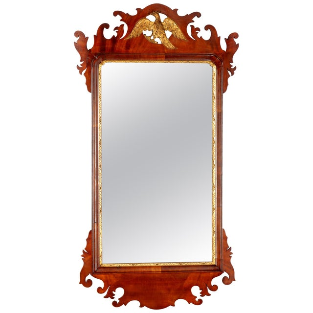 Antique Federal Chippendale Figural Mahogany & Gilt Phoenix Wall Mirror For Sale - Image 10 of 10