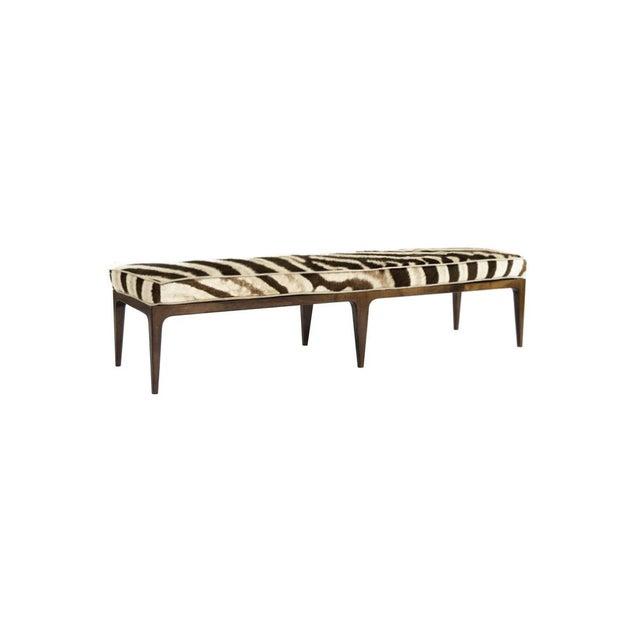 Spectacular Genuine Zebra & Walnut Bench For Sale - Image 4 of 4