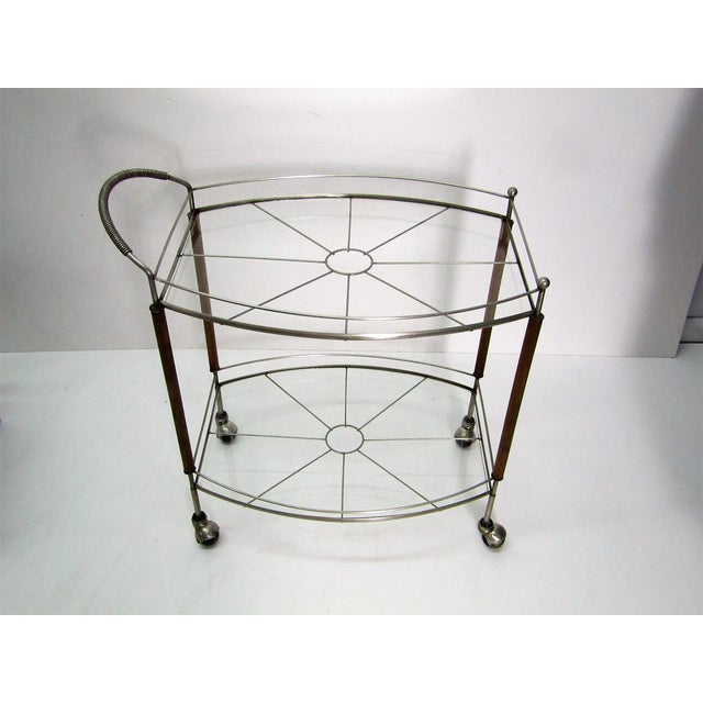 Contemporary 1950s Mid Century Modern Teak and Metal Bar/Tea Cart For Sale - Image 3 of 6