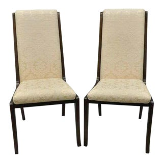 1970s Vintage William Doezema for Baker Mastercraft Brass Inlay Upholstered Dining Chairs- A Pair For Sale