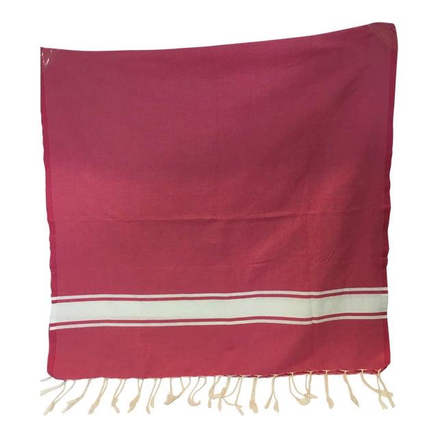 Pink Striped Tunisian Hammam Towel - Image 1 of 3