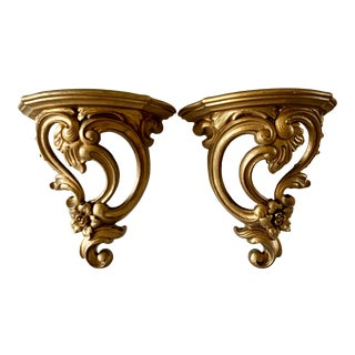 Midcentury Ornate Gold Rococo Wall Sconces- a Pair For Sale
