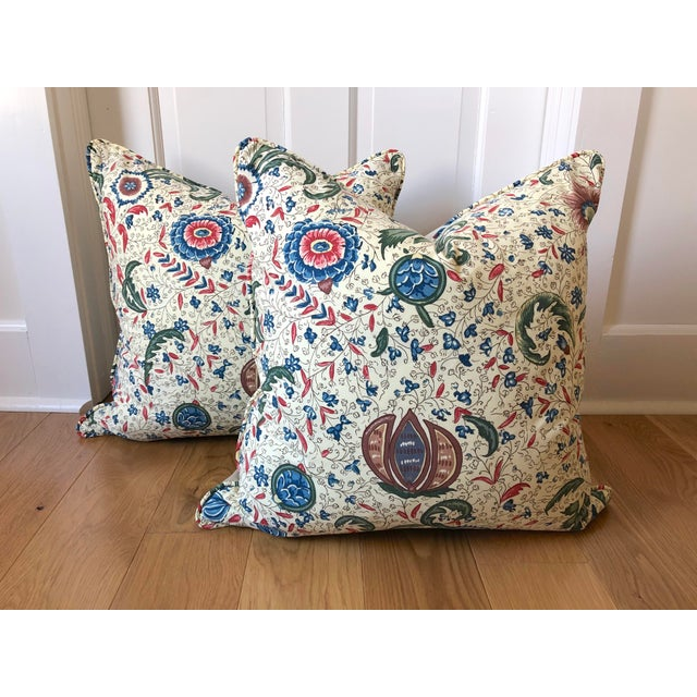 """Early 21st Century Pierre Frey Braquenie """"Fleurs Enchantees"""" Feather Down Pillows - A Pair For Sale - Image 5 of 5"""