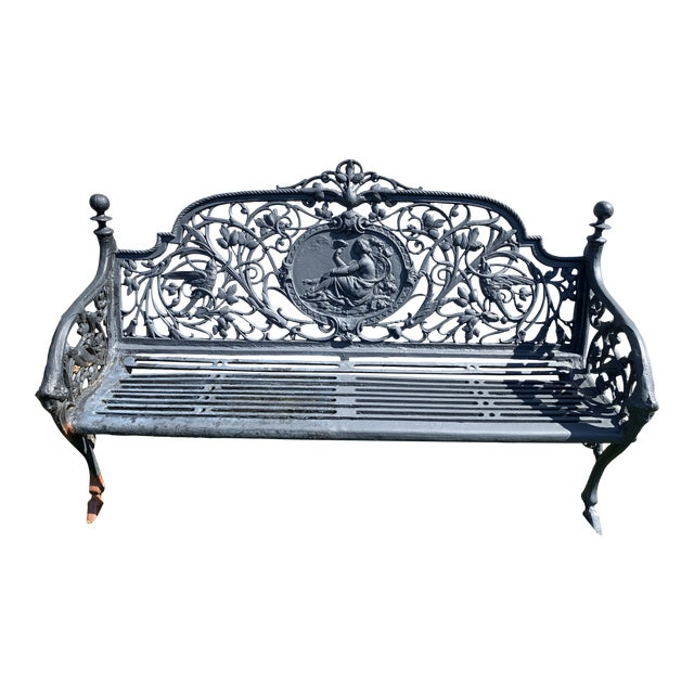 Antique French Black Iron Bench With Birds and Nymph For Sale
