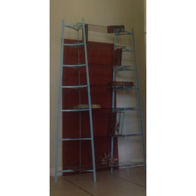 Mid-Century Industrial Metal Glass Shelving Unit - Image 8 of 10