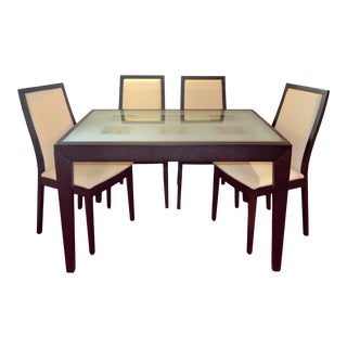 Calligaris Bon-Ton Wood and Tempered Glass Dining Set - 5 Pieces For Sale
