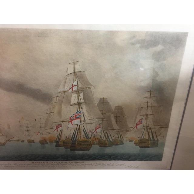 "Vintage Colored Lithograph , Battle of Trafalgar, Circa 1920, nicely framed, in excellent condition. Large size 40"" wide x..."