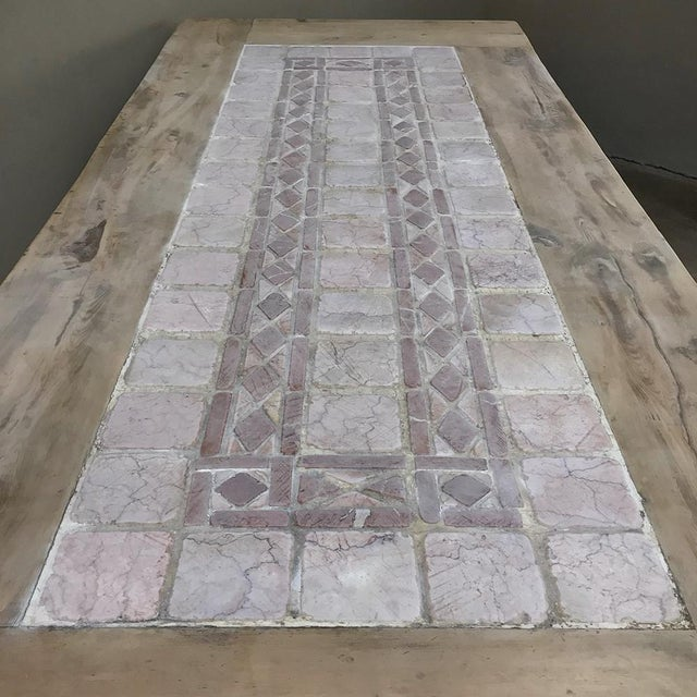 Red 19th Century Spanish Table With Marble Tiles For Sale - Image 8 of 11