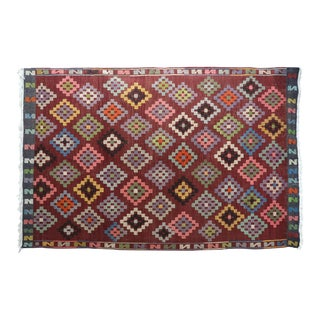 "Anatolian Turkish Embroidered Kilim Rug-6'6'x10'2"" For Sale"