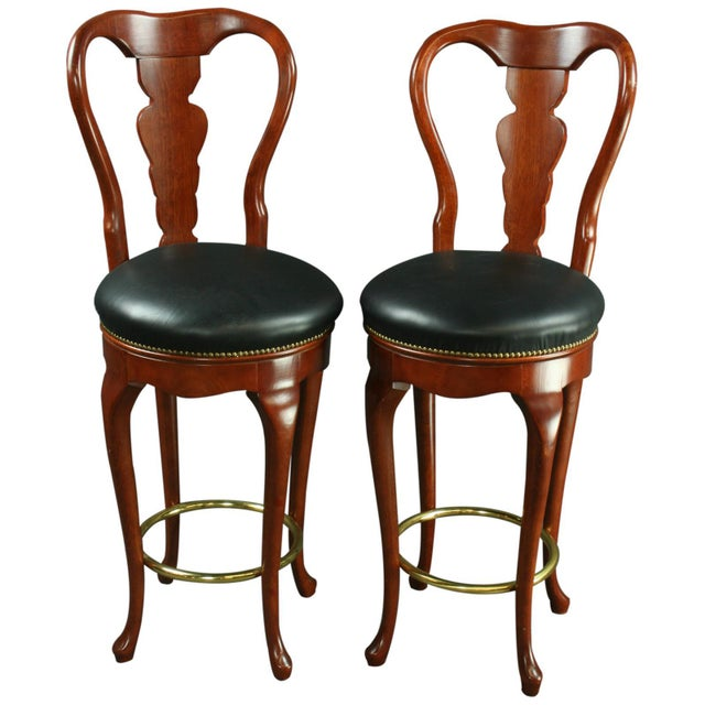 Queen Anne New Bar Stools Mahogany/Faux - A Pair - Image 1 of 6