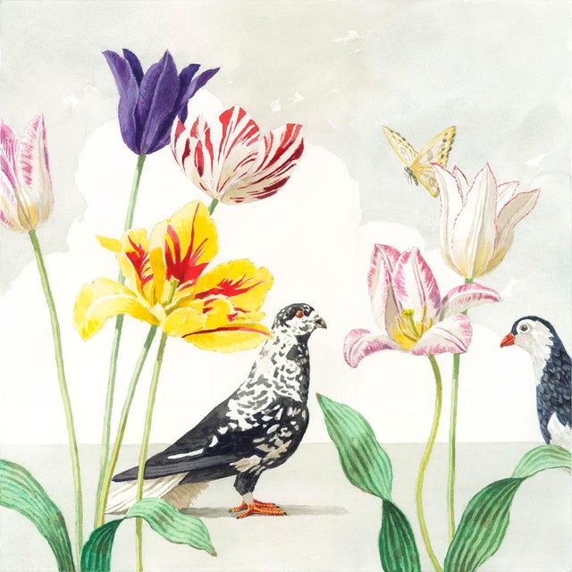 """Tulips With Two Pigeons"" Giclée Print - Image 3 of 3"
