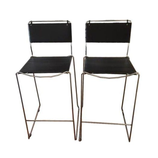 Italian Leather & Chrome Counter Stools - A Pair - Image 1 of 6