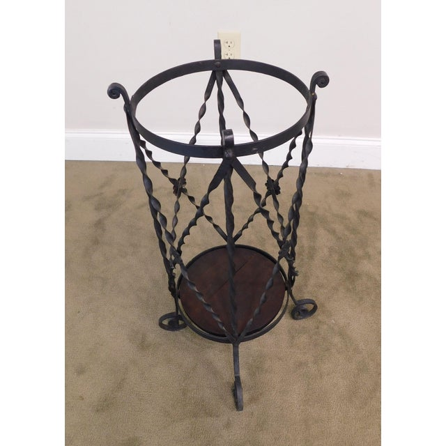 Aesthetic Antique Hand Wrought Iron Umbrella Stand For Sale In Philadelphia - Image 6 of 13