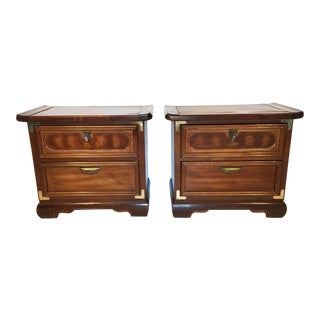 Asian Heavy Wood Nightstands - A Pair