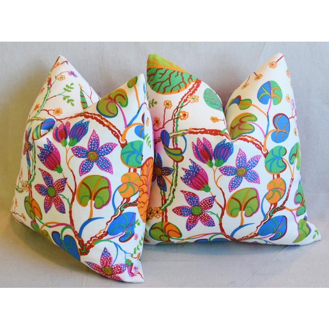 "Designer Josef Frank ""Teheran"" Floral Linen Feather/Down Pillows 18"" Square - Pair For Sale - Image 9 of 11"