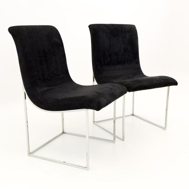 Milo Baughman for Directional Mid Century Black Velvet Chrome Base Lounge Chairs - a Pair For Sale - Image 11 of 11