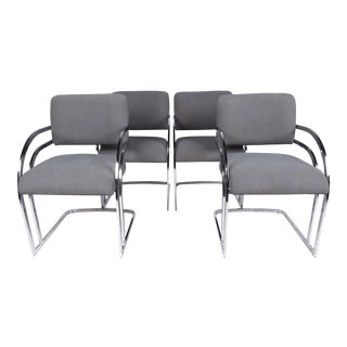 Set of Four Contemporary Modern Shells Inc. Upholstered Dining Chairs For Sale
