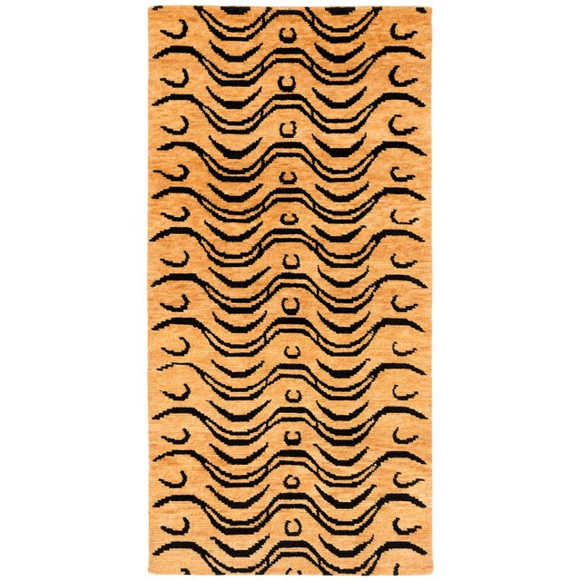 Textile Black and Tan Wool Tibetan Tiger Area Rug For Sale - Image 7 of 7