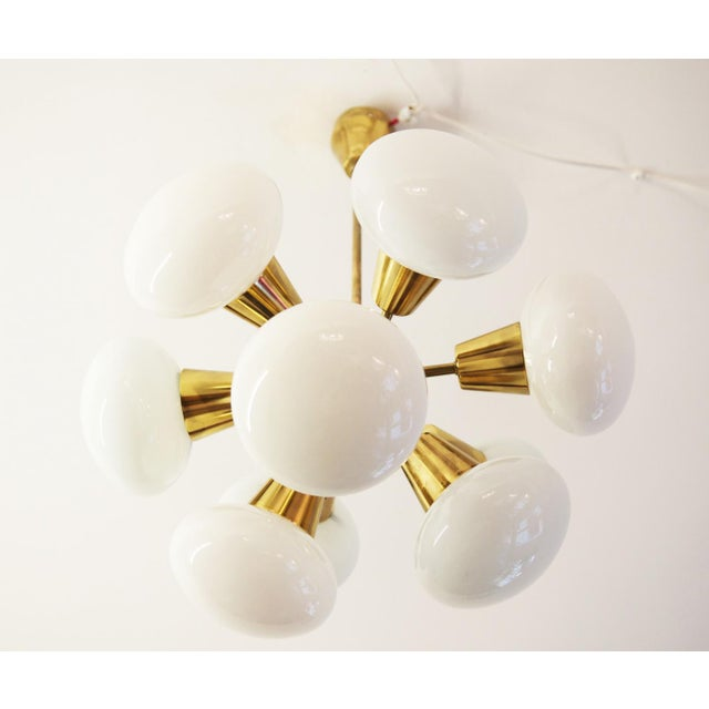 Brass Mid-Century Sputnik Frosted Glass Chandelier, 1960s For Sale - Image 7 of 10