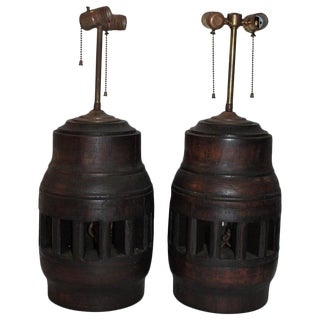 19th Century Wagon Wheel Hub Lamps, Pair For Sale