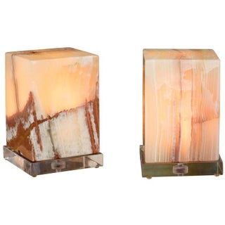 Green Onyx Cube Lamps - Pair