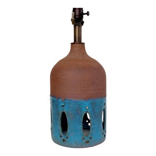 Contemporary Blue Glazed Ceramic Table Lamp For Sale