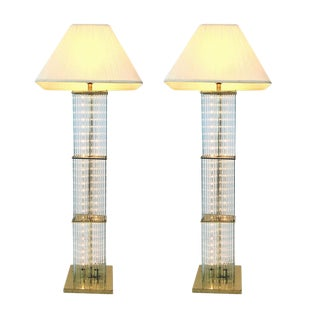 Pair of 1960s Sciolari Brass and Glass Rod Floor Lamps For Sale