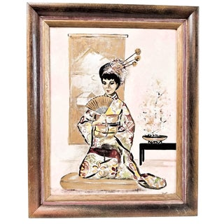 Vintage Geisha Asian Woman Girl in Kimono Oil on Canvas Painting For Sale