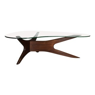Sculptural Walnut & Glass Cocktail Table by Adrian Pearsall for Craft Associates For Sale