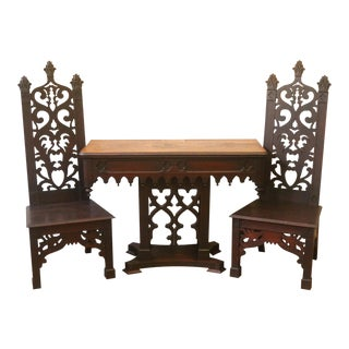 Antique 19th Century Gothic Revival Dark Oak Hall Console Table with Chairs - 3 Pieces For Sale