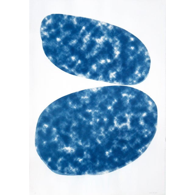 "20202 Minimal ""Cloudy Ovals"" Contemporary Abstract Geometric Classic Blue Blueprint Cyanotype on Paper For Sale"