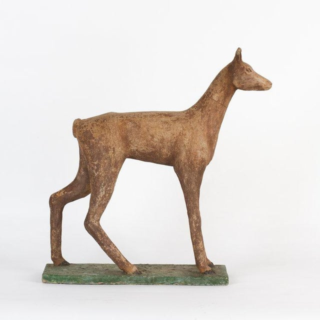 This French, 1960's concrete deer is a showstopper! Handcrafted of sculpted concrete, his stylized form is a superb...
