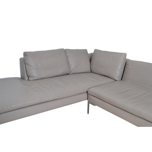 B&B Italia Original B & B Italia Leather Sectional Sofa For Sale - Image 4 of 10