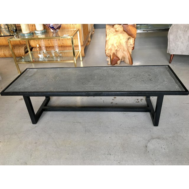 Contemporary Coffee Table With Etched Metal Inlay and Ebonized Wood Frame For Sale - Image 4 of 12