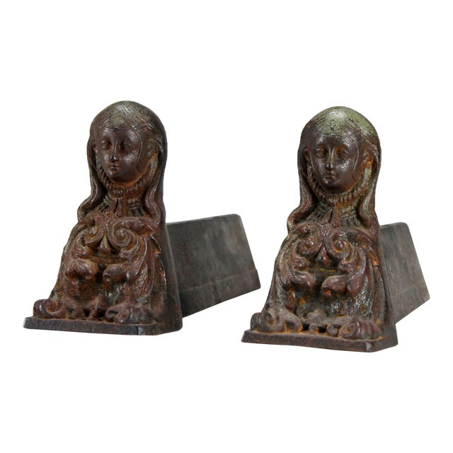 Antique French Cast Iron Female Figural Andirons or Firedogs - Pair For Sale