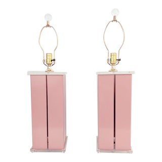 1980s Optique Mauve Lacquered Metal and Lucite Lamps- a Pair For Sale
