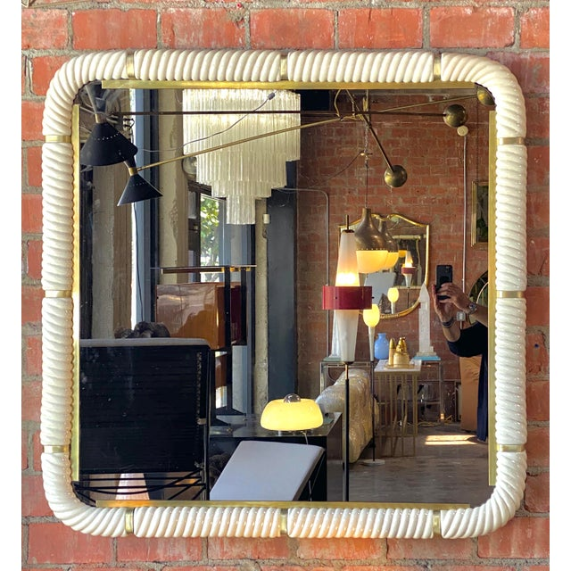 Tommaso Barbi Porcelain Wall Mirror With Brass For Sale - Image 11 of 11