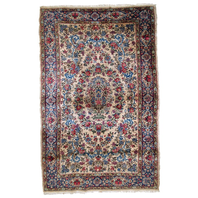 1920s, Handmade Antique Persian Kerman Rug 4.2' For Sale
