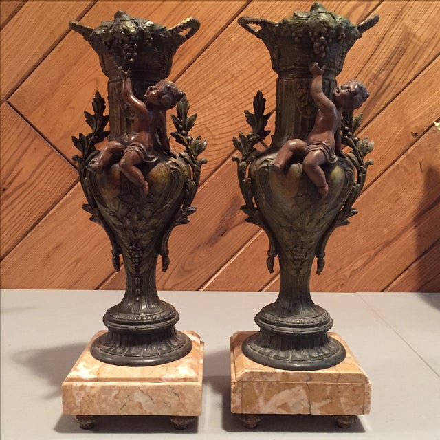 Pair of Cast Metal and Marble Urns - Set of 2 - Image 2 of 7