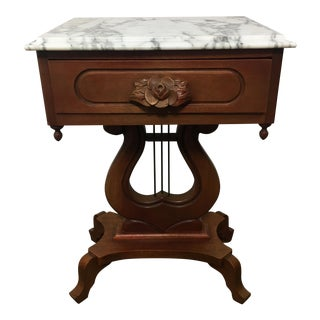 Antique Mahogany Marble Top Harp Side Table
