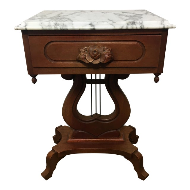 Antique Mahogany Marble Top Harp Side Table For Sale