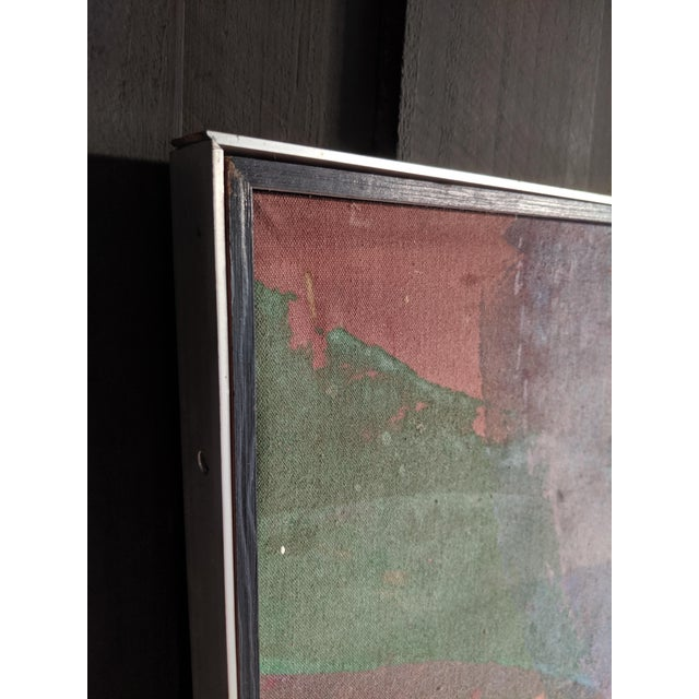 """Canvas 81"""" Oversize Framed Oil on Canvas Abstract Painting For Sale - Image 7 of 13"""