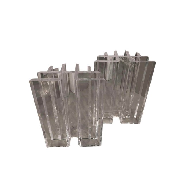 Vintage Hollywood Regency Radiator Lucite Dining Table Desk Bases -A Pair For Sale - Image 12 of 12