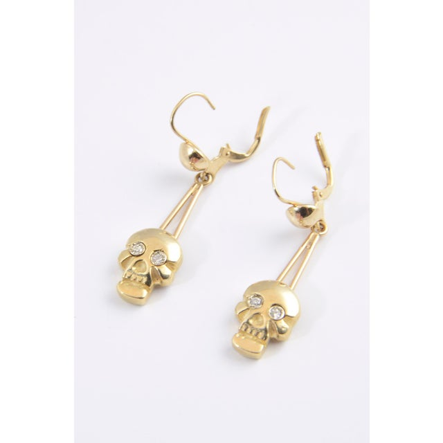 Contemporary Skull Diamond and Gold Dangle Earrings For Sale - Image 3 of 5
