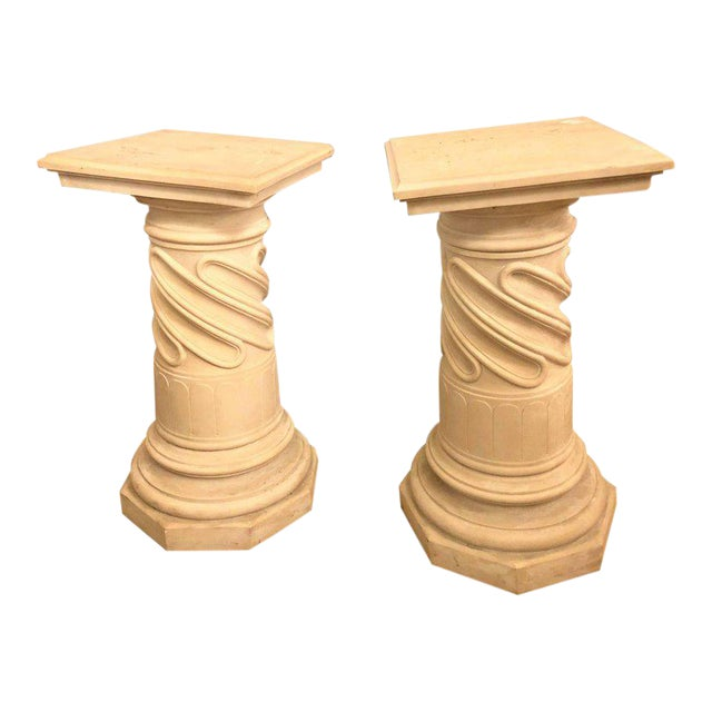 Marble Composite Column Form Pedestals - a Pair For Sale - Image 7 of 7